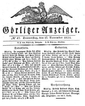 Görlitzer Anzeiger on Nov 17, 1831