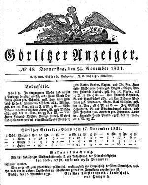 Görlitzer Anzeiger vom 24.11.1831