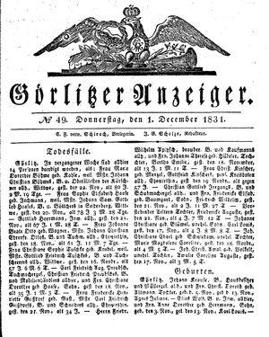 Görlitzer Anzeiger vom 01.12.1831