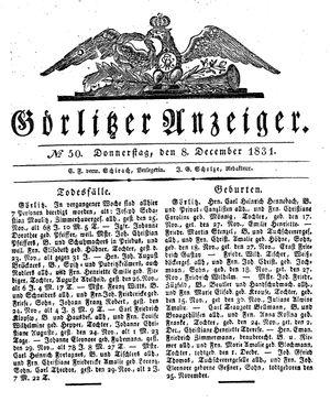 Görlitzer Anzeiger vom 08.12.1831