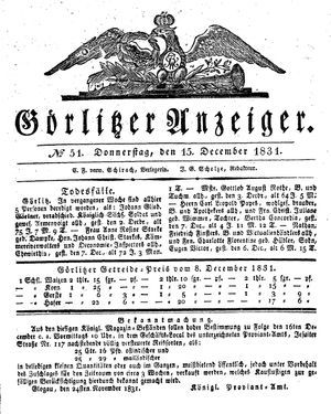 Görlitzer Anzeiger vom 15.12.1831