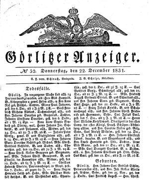 Görlitzer Anzeiger vom 22.12.1831
