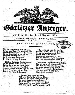 Görlitzer Anzeiger vom 03.01.1833