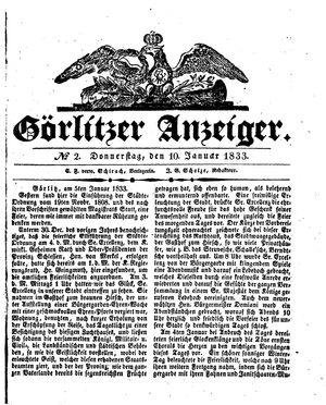 Görlitzer Anzeiger vom 10.01.1833