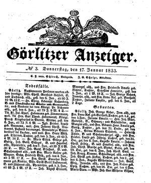 Görlitzer Anzeiger vom 17.01.1833