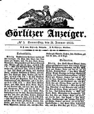 Görlitzer Anzeiger vom 31.01.1833