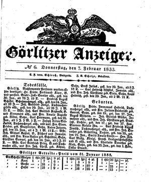 Görlitzer Anzeiger vom 07.02.1833