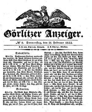 Görlitzer Anzeiger vom 21.02.1833