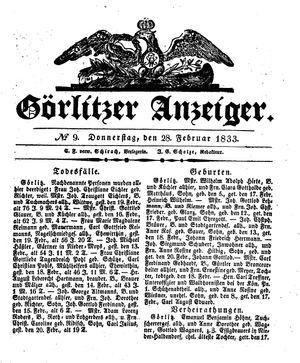 Görlitzer Anzeiger vom 28.02.1833