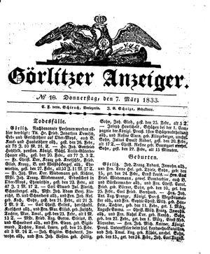 Görlitzer Anzeiger vom 07.03.1833