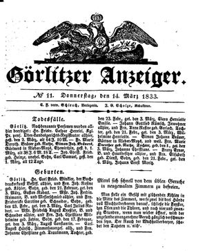 Görlitzer Anzeiger vom 14.03.1833