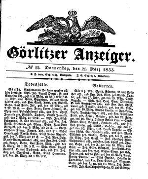 Görlitzer Anzeiger vom 21.03.1833
