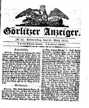 Görlitzer Anzeiger vom 28.03.1833
