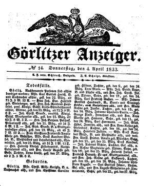 Görlitzer Anzeiger vom 04.04.1833