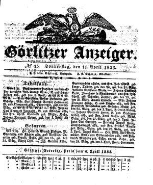 Görlitzer Anzeiger vom 11.04.1833
