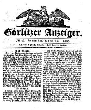 Görlitzer Anzeiger vom 18.04.1833