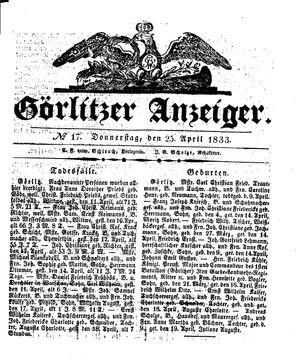 Görlitzer Anzeiger vom 25.04.1833