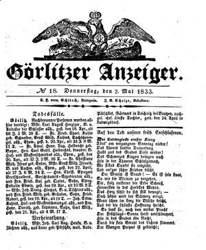Görlitzer Anzeiger vom 02.05.1833