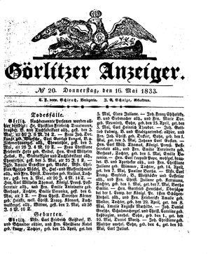 Görlitzer Anzeiger vom 16.05.1833