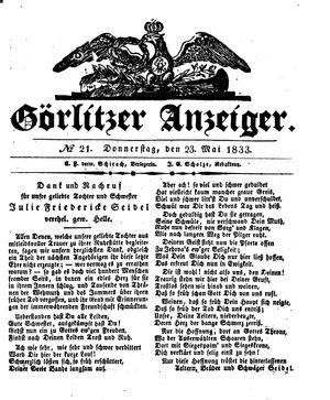 Görlitzer Anzeiger vom 23.05.1833