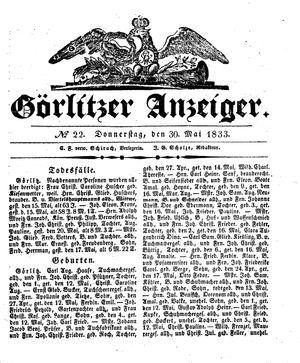 Görlitzer Anzeiger vom 30.05.1833