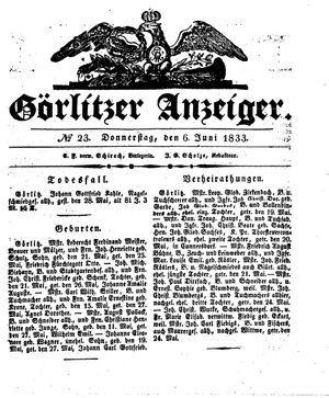 Görlitzer Anzeiger vom 06.06.1833