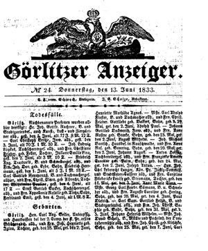 Görlitzer Anzeiger vom 13.06.1833