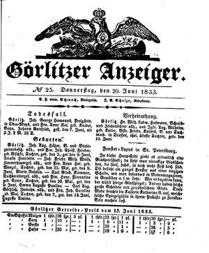 Görlitzer Anzeiger vom 20.06.1833