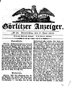 Görlitzer Anzeiger vom 27.06.1833