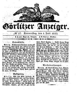 Görlitzer Anzeiger vom 04.07.1833