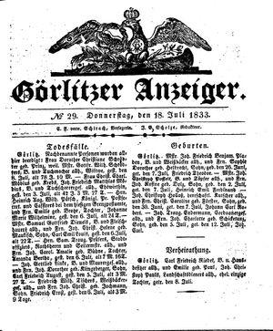 Görlitzer Anzeiger vom 18.07.1833