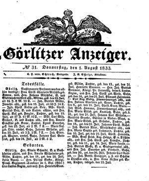 Görlitzer Anzeiger vom 01.08.1833