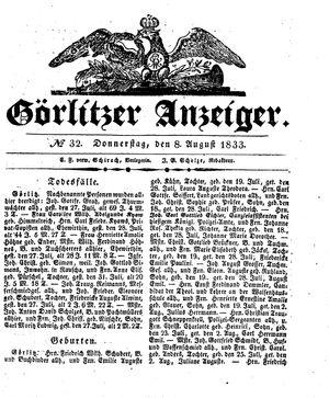 Görlitzer Anzeiger vom 08.08.1833
