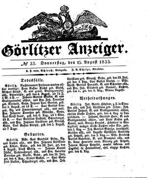Görlitzer Anzeiger vom 15.08.1833