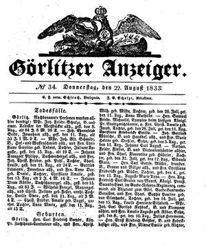 Görlitzer Anzeiger vom 22.08.1833