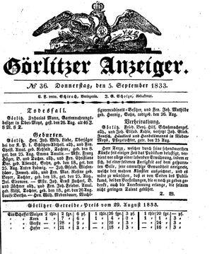 Görlitzer Anzeiger vom 05.09.1833