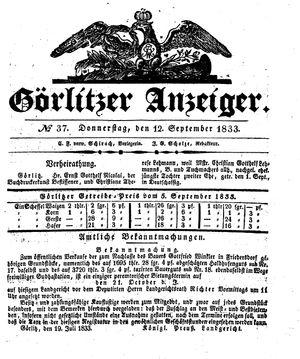 Görlitzer Anzeiger vom 12.09.1833