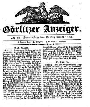 Görlitzer Anzeiger vom 19.09.1833
