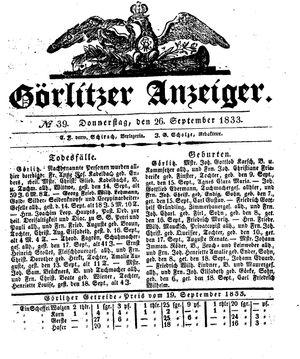 Görlitzer Anzeiger vom 26.09.1833