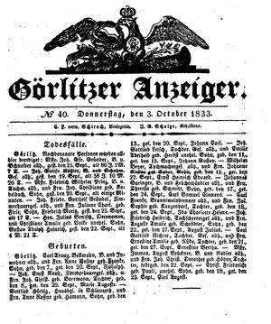 Görlitzer Anzeiger vom 03.10.1833