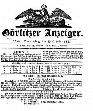 Görlitzer Anzeiger on Oct 10, 1833