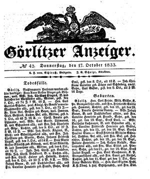 Görlitzer Anzeiger vom 17.10.1833