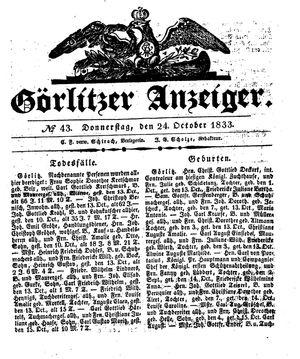 Görlitzer Anzeiger vom 24.10.1833