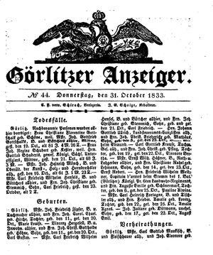 Görlitzer Anzeiger vom 31.10.1833