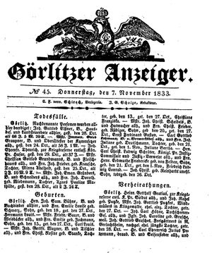 Görlitzer Anzeiger vom 07.11.1833