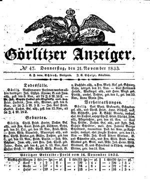 Görlitzer Anzeiger vom 21.11.1833
