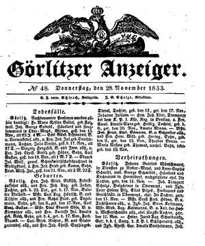 Görlitzer Anzeiger vom 28.11.1833