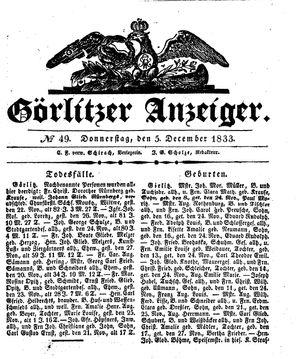 Görlitzer Anzeiger vom 05.12.1833