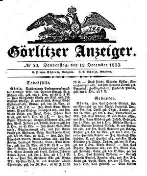 Görlitzer Anzeiger vom 12.12.1833