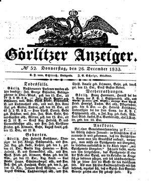 Görlitzer Anzeiger vom 26.12.1833
